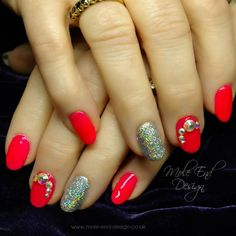 Gelish Shake it Til You Samba with Holographic Glitter and Team Gorgeous Gems. Natural nails with gel polish and reinforcement. #gelish #glitter #bling #naturalnails at Mole End Design. #teamgorgeous #coral