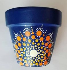 Planter has been sealed. Painting is free handed and may have minor blemishes. Water catch plate NOT included. Mandala Art, Flower Mandala, Cactus Flower, Painted Plant Pots, Painted Flower Pots, Terracotta Flower Pots, Ceramic Flower Pots, Small Projects Ideas, Dot Art Painting