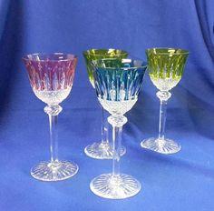 ST LOUIS, quatre verres en cristal bicolore (éclat). St Louis, Objet D'art, French Antiques, Bohemian, Glasses, Crystals, Tableware, Bicolor Cat, Objects