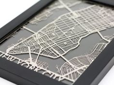 New York City Stainless Steel Laser Cut Map Framed By Cutmaps