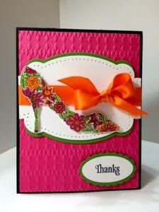 Karen's Kraft Room: Thanks with Pink Orange and Green stampin up