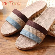 $12.67 (Buy here: http://appdeal.ru/9hay ) Hot Home Women Men Adult Slippers Summer Linen Comfortable Flax Knitted Striped Bedroom Slipper Couple Woman Man Indoor Shoe for just $12.67