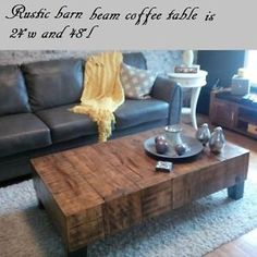 "Rustic barn beam coffee table. 8""x8"" Beams are 100+ yrs old Muskoka Ontario image 1"