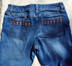ANN TAYLOR LOFT Bootleg Denim Jeans Pants Women's Size 10 , Embroidered desigm #AnnTaylorLOFT #BootCut