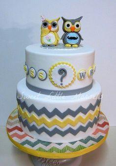 Owl Gender Reveal Cake