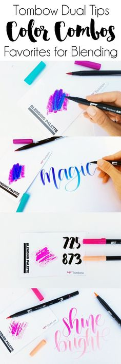 Blending Tombow Dual Tips: Favorite Color Combos. My three favorite color combinations for blending with the Tombow Dual Tip Brush Pens! (Favorite Color)