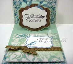 Pop-up with Sissix Label Die and a gift certificate. by Cindy Beach http://stampspaperandink.typepad.com/stamps_paper_and_ink/