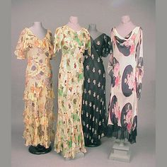 Group of Four Chiffon Gowns  American, 1930s