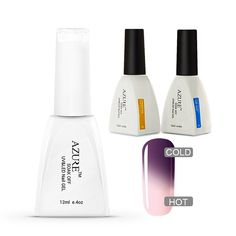 Azure 3Pcs Soak Off UV LED Temperature Color Changing Gel Nail Polish DIY with Base Coat Top Coat Set T22 >>> Want to know more, click on the image.