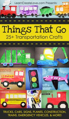 25+ FREE Printable #Transportation Crafts from LearnCreateLove.com  #preschool #kidscraft