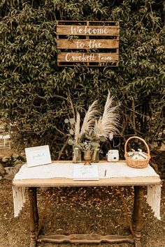Rustic Rose Gold Whidbey Island Wedding at Crockett Farm This rustic + boho welcome table features pampas grass and greenery floral pieces Boho Wedding Guest, Rustic Boho Wedding, Farm Wedding, Wedding Stage, Wedding Welcome Table, Gift Table Wedding, Wedding Signing Table, Wedding Tables, Table Cadeau