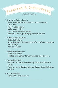 Planning A Christening Checklist from www.OneSmallChild.com