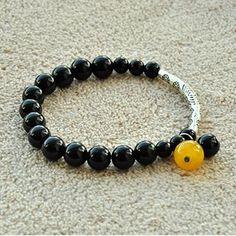 DIY-Idee:  Armband aus Schwarzsteinen, gelbe Achat und tibetische Silberschmuck
