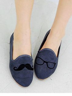 Moustache and Eyeglasses Loafers by Yubsshop