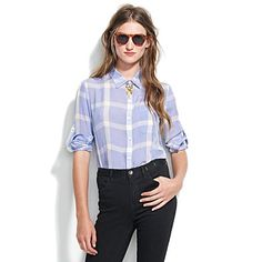 madewell silk gatehouse shirt in iced peri - $110.00