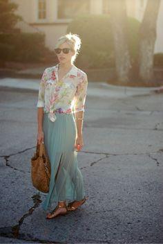 long skirt, sheer, floral, metallic, easygoing glamour