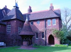 """The Red House, Bexleyheath, Kent. Grade I listed. Major building of the Arts & Crafts style & 19th-century British architecture. Designed in 1859 by its owner, William Morris, architect Philip Webb; with wall paintings & stained glass by Edward Burne-Jones. Morris built it for himself & his wife, Jane. He desired to have a """"Palace of Art"""" in which he & his friends could enjoy producing works of art. Of red brick with a steep tiled roof, & emphasis on natural materials. Owned by National…"""