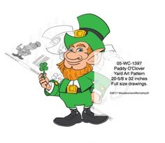 Our Paddy O'Clover #leprechaun, full size drawings available in paper or pdf, as well as full color print. Just in time for St. Patrick's Day!