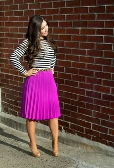 fuchsia pleated skirt, skinny leopard belt, and Jcrew jeweled necklace - Louboutins and Love Fashion Style Outfits, Modest Outfits, Skirt Outfits, Modest Fashion, Love Fashion, Autumn Fashion, Womens Fashion, Fashion Spring, Office Fashion