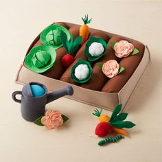 Felt Garden Set at Crate and Barrel Canada. Discover unique furniture and decor from across the globe to create a look you love. Diy For Kids, Crafts For Kids, Diy Crafts, Garden Crafts, Preschool Crafts, Crate And Barrel, Biscuit, All Toys, Kids Toys