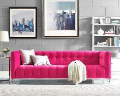 TOV Furniture Modern Bea Pink Velvet Sofa , sofas - TOV Furniture, Minimal & Modern - 1