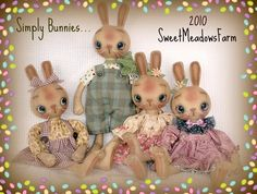Primitive E-PATTERN Boy and Girl Bunny Rabbit Dolls - pinned by pin4etsy.com