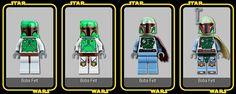 The evolution of the Boba Fett minifigure.