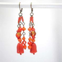 Boucles d'oreille en cristal verre orange bronze  par kalaniparis