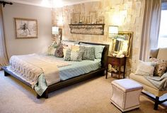 Love the modern meets vintage look. Modern bed, but weathered decor on the wall.