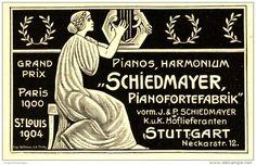 Original-Werbung/ Anzeige 1908 - PIANOS/HARMONIUM - SCHIEDMAYER PIANOFORTEFABRIK STUTTGART ca. 90 x 55 mm