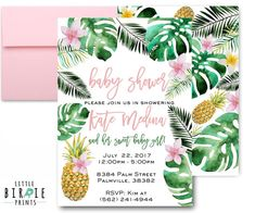 TROPICAL BABY SHOWER Invitation Girl Pineapple baby Shower