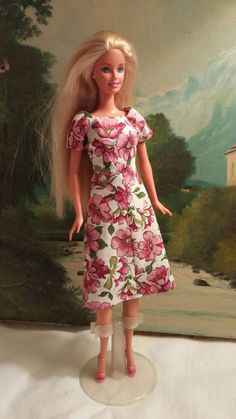 Modest pink floral dress for Barbie with shoes