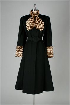 1940s Coat. Black Wool w/ Leopard Print Trim - Gorgeous!