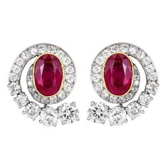 Oval  Ruby and Diamond Earrings | From a unique collection of vintage clip-on earrings at https://www.1stdibs.com/jewelry/earrings/clip-on-earrings/