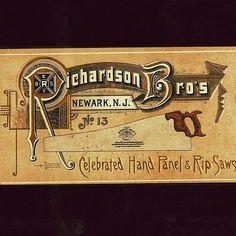 Richardson Bros. Saws of Newark, NJ. Good looking trade card/calling card.