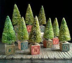 DIY toy block bottle brushed trees