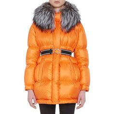 Prada Women's Fur-Trimmed Oversized Down-Quilted Coat ($3,020) ❤ liked on Polyvore featuring outerwear, coats, orange, feather coat, oversized coat, hooded coat, orange coat and prada