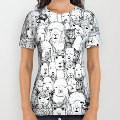 just alpacas black white All Over Print Shirt