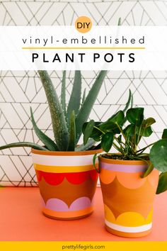 Embellished DIY Plant Pots - The Pretty Life Girls | Today we're sharing a super easy tutorial for creating some embellished DIY plant pots using vinyl that looks like it was cut from a fancy machine but only requires a circle punch and some scissors. It's definitely the vibrant color scheme that makes this project stand out, and you can find individual sheets of vinyl at the craft store for a dollar or two, allowing you to try out lots of colors! Plant Pots, Potted Plants, Diy Vinyl Projects, Circle Punch, Craft Stores, Scissors, Super Easy, Color Schemes, Vibrant Colors