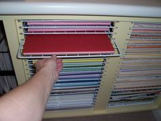 Paper cabinet made using Target cube grids. See the rest of this craft room--love it! K
