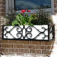 wrought iron window box with paintable insert.
