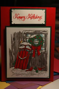 I made this Christmas card with a Northwoods stamp.