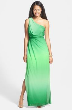 Hailey by Adrianna Papell One-Shoulder Ombré Blouson Jersey Gown. This is my prom dress!