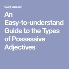 An Easy-to-understand Guide to the Types of Possessive Adjectives