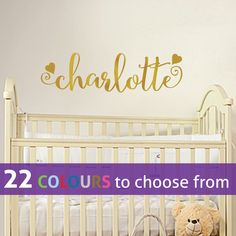 PERSONALISED girls any CUSTOM name with swirls and hearts, gold wall sticker…