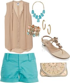 Nude and turquoise. Love these two colors together!