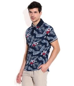 Celio Navy  Polo Neck T Shirt Polo Neck, Everyday Look, Tshirts Online, Neck T Shirt, Men Casual, Feminine, Floral, Mens Tops, Stuff To Buy