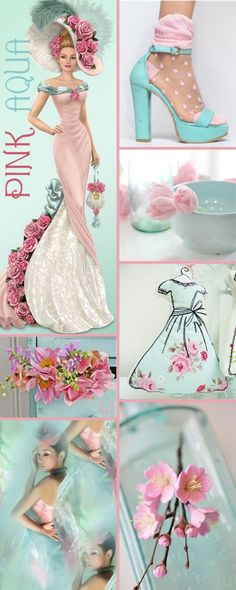 Pink & Aqua color collage Lu's Inspiration ღ