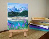 mini quadro, mini pittura, dipinto paesaggio, montagna, lago, mini easel painting, quadro in miniatura con cavalletto, decorazione casa