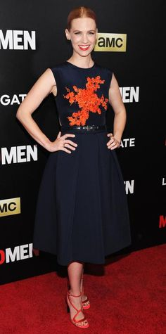 For the New York screening of AMC's Mad Men at The Museum of Modern Art, January Jones chose a belted navy blue Preen ensemble with an embroidered bodice. Nicholas Kirkwood strappy sandals and bold lip finished off the actress's look.